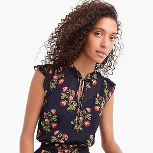 J. CREW POINT SUR Sleeveless Tie Neck Floral Top